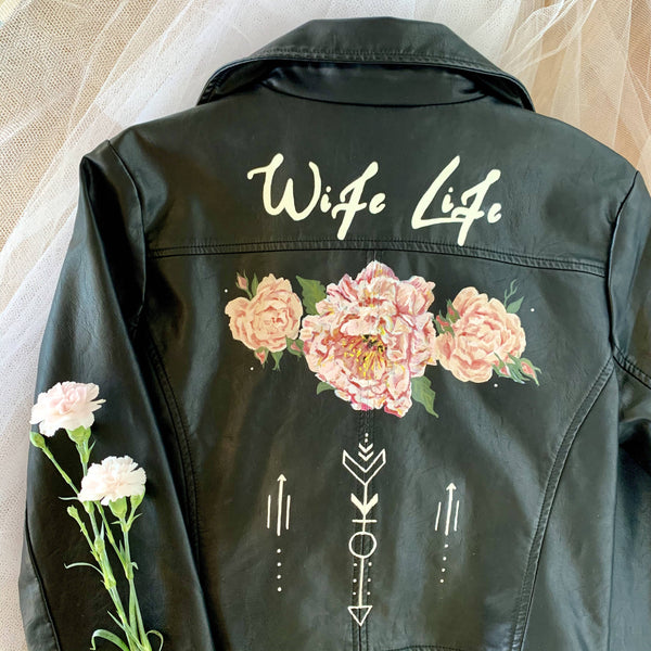 "Custom Hand Painted ""Wife Life"" Jacket"