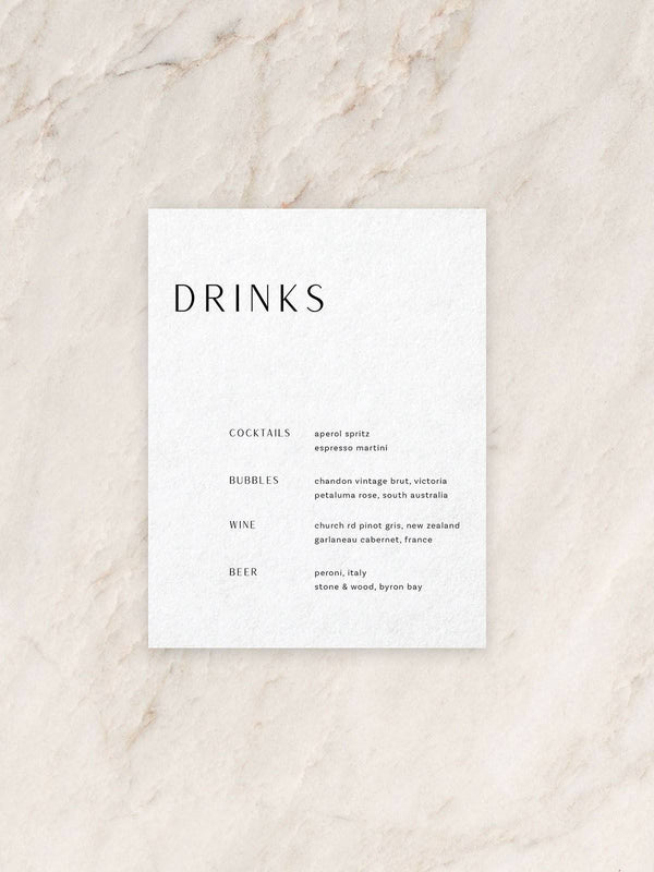 Avoca Drink Menu