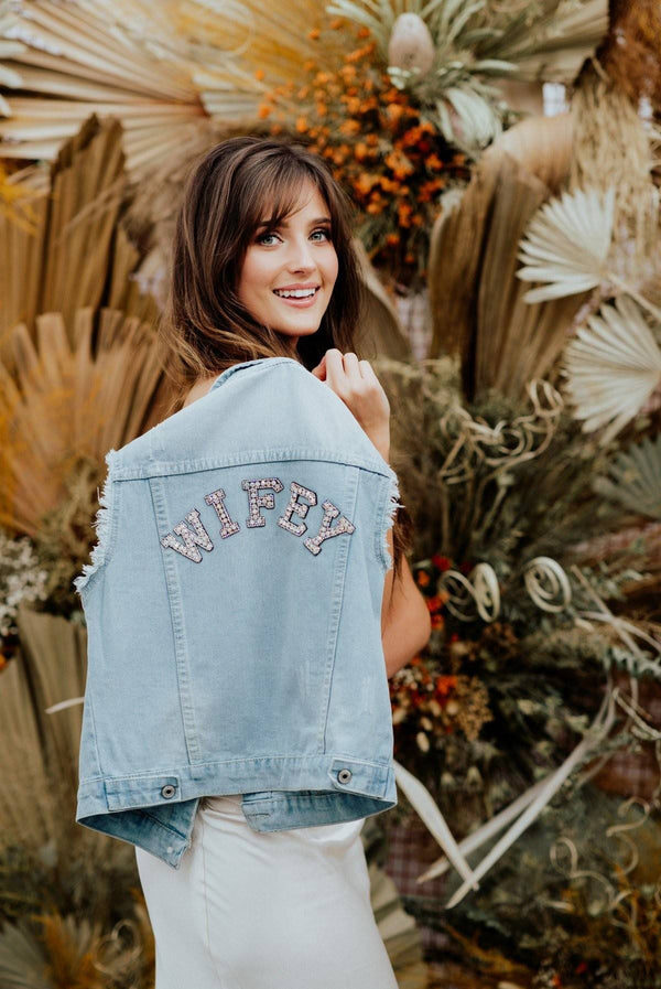 """WIFEY"" Denim Bridal Vest Jacket"