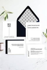 Modern Black and White Wedding Printable Thank You Card Template