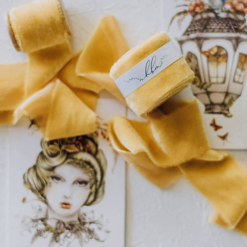 Mustard Gold Velvet Ribbon