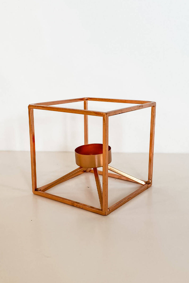 Rose Gold Geometric Tealight Holders