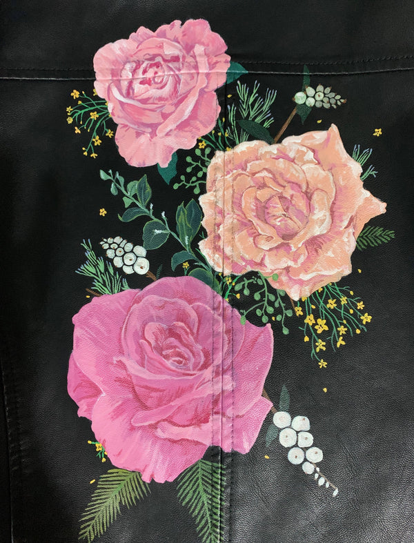 Custom Hand Painted Pink Roses