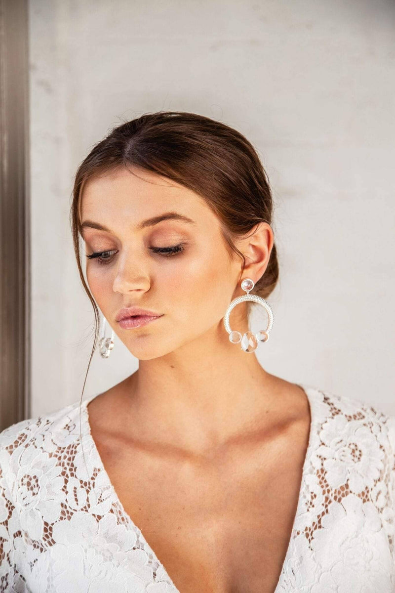 AMELIA - STATEMENT CRYSTAL BRIDAL EARRINGS - SILVER