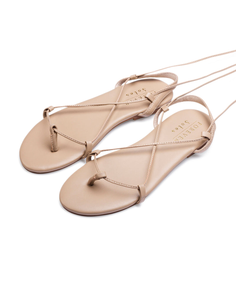 OUR WORLD FLAT SANDALS - NUDE