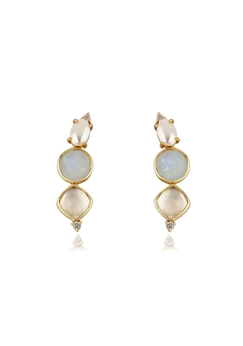HARPER - DIAMOND AND PEARL WEDDING EARRINGS - GOLD
