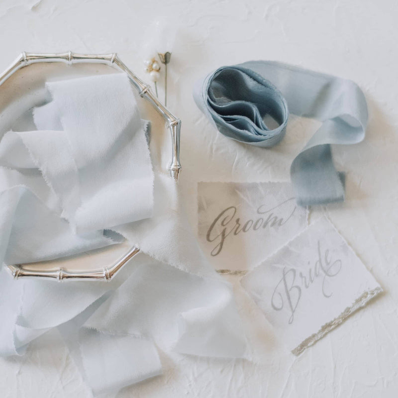 Palest Sky Ombre Crepe Silk Ribbon