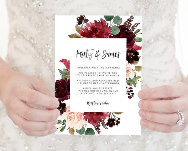 Marsala Floral Wedding Invitation Printable Template