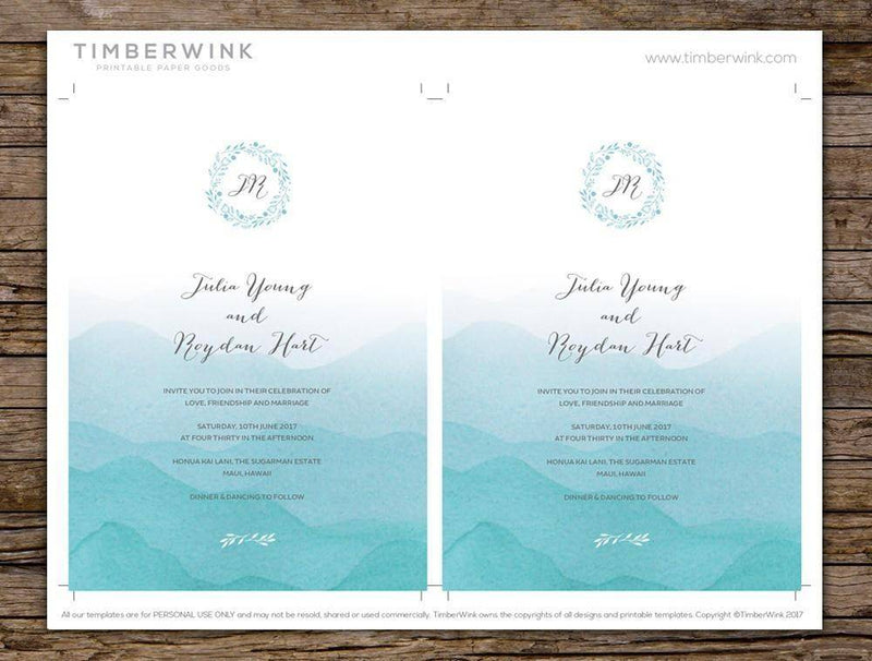 Beach Wedding Invitation Printable Template Instant Download