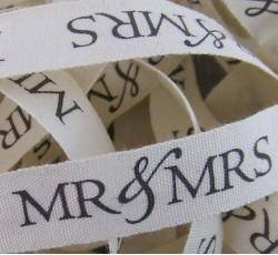 Mr and Mrs Printed Ribbons