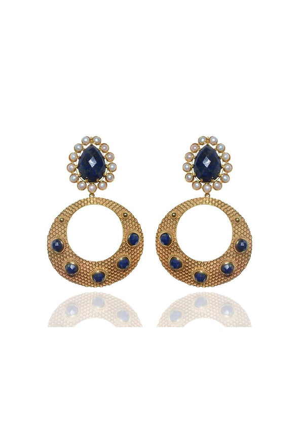 WILLOW - LAPIS LAZULI STATEMENT BRIDESMAID EARRINGS - GOLD