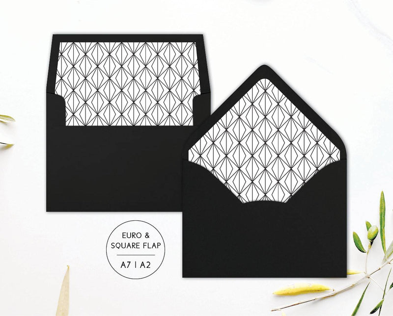 Geometric Envelope Liners for Black and White or Art Deco Wedding Invitations