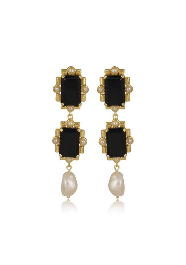 EMBERLY EARRINGS - STATEMENT WEDDING EARRINGS - BLACK ONYX
