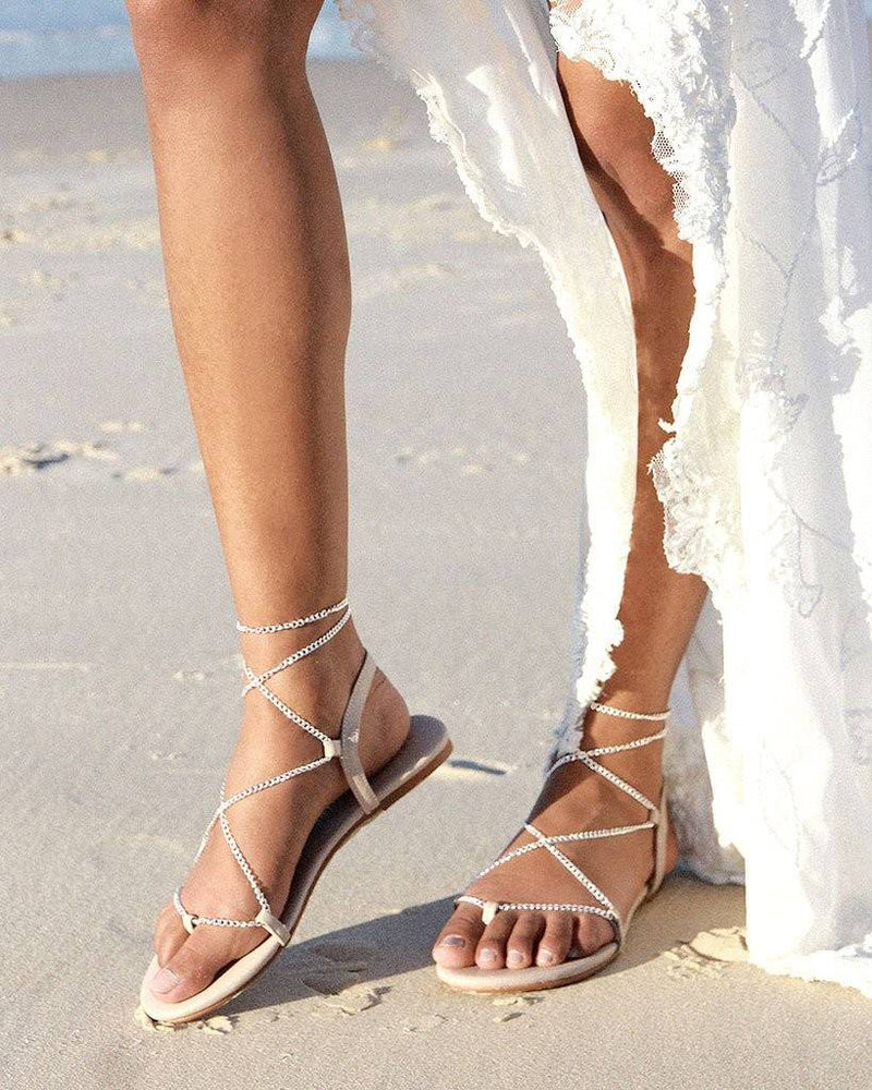 SILVER CHAIN FLAT SANDALS