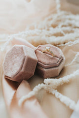 Octagonal Velvet Ring Box - Blush