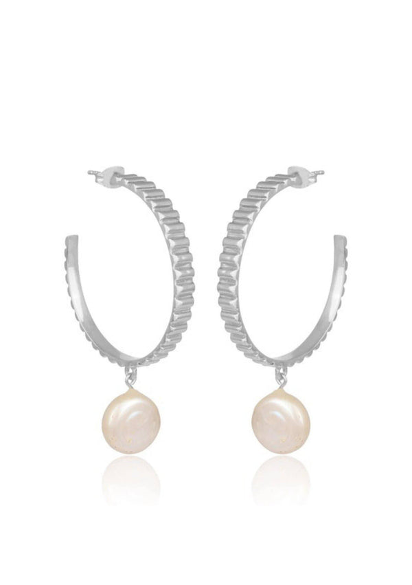 GIGI - PEARL HOOP BRIDAL EARRINGS - SILVER