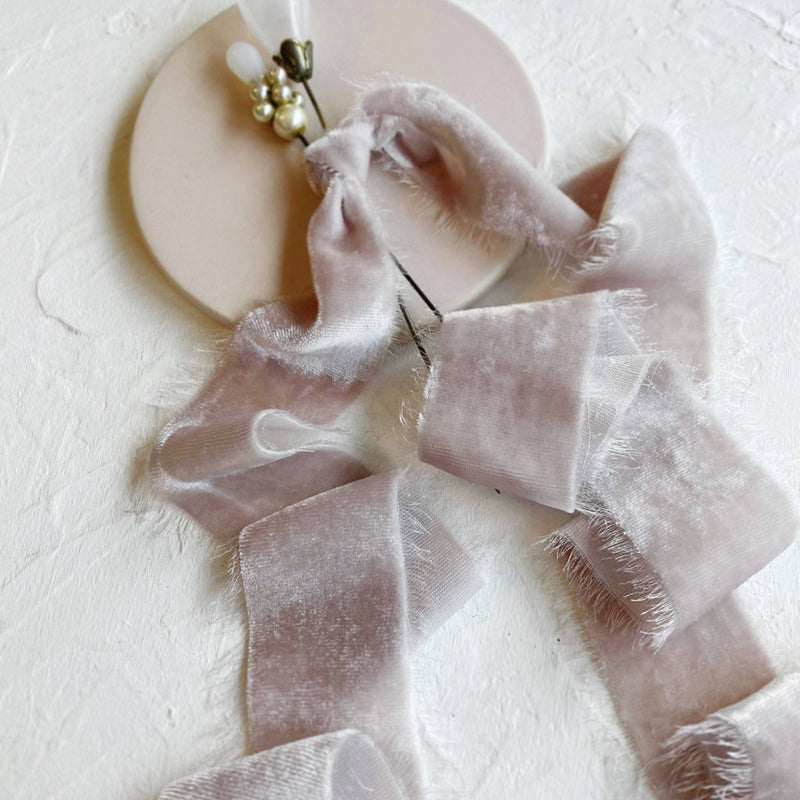 Pale Mauve Velvet Ribbon