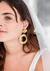 SADIE - ROSE QUARTZ STATEMENT BRIDAL EARRINGS - GOLD