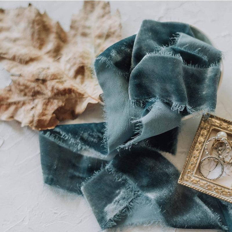 Soft Teal Velvet Ribbon