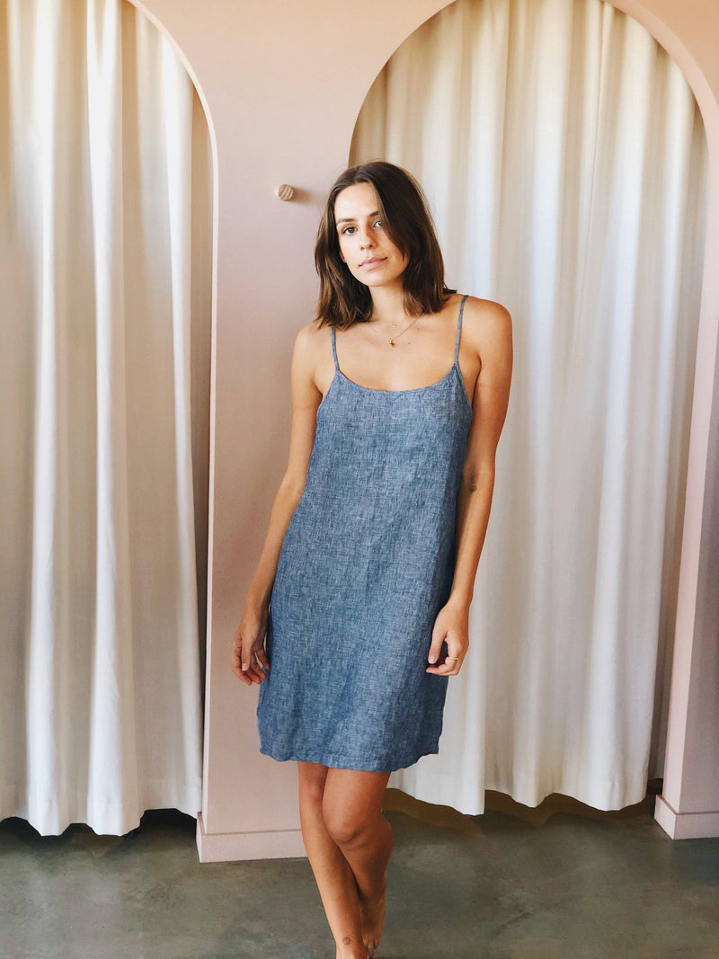 Denim Linen Slip Dress