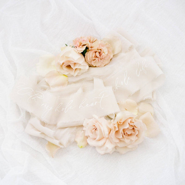 Ivory Silk Crepe Ribbon