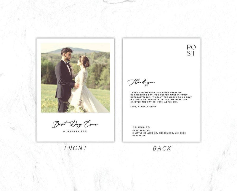 Modern Romantic Wedding Polaroid Thank You Card Postcard Printable Template