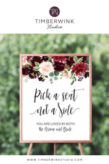 "Burgundy Floral Wedding Seating Sign 24 x 30"" Printable Template"