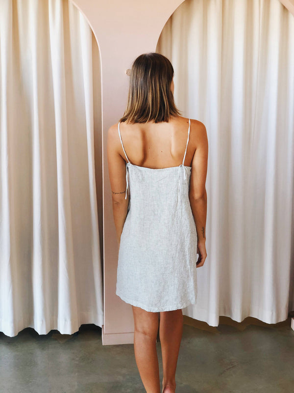 Pinstripe Linen Slip Dress
