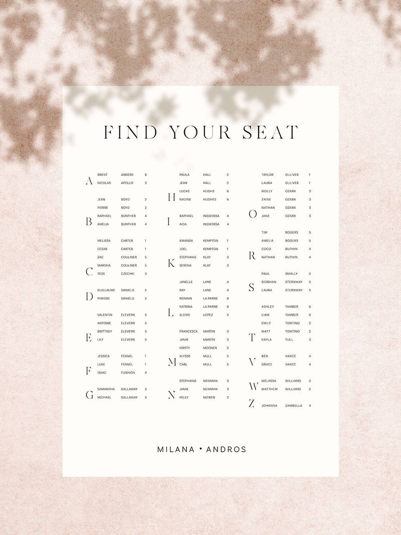 Milan Seating Chart