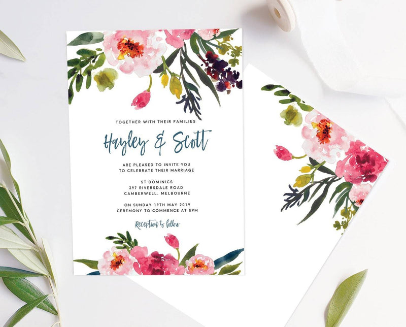 Blush Peony Wedding Invitation Printable Template