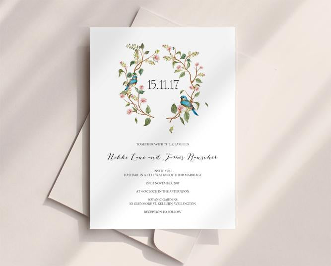 Floral Botanical Wedding Invitation Printable Template