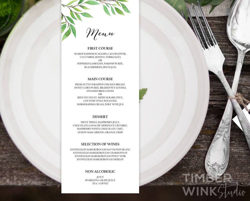 Botanical Wedding Menu Printable Template