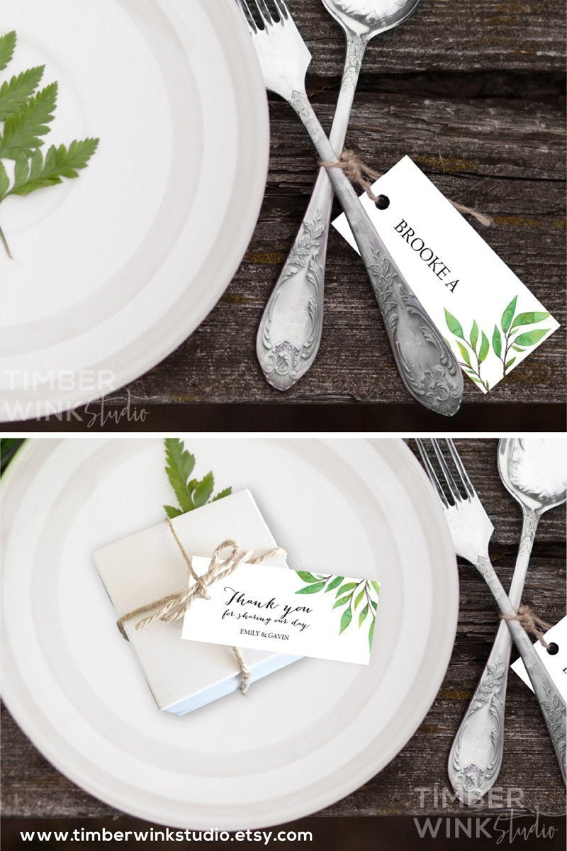 Botanical Wedding Place Card Printable Template