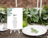 Greenery Wedding Seating Plan Printable Template