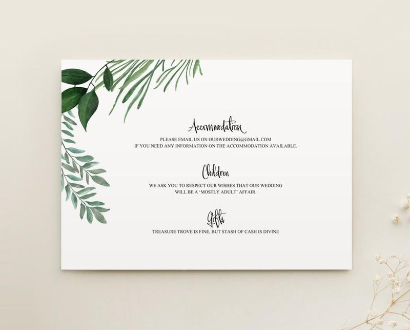 Greenery Wedding Info Card Printable Template