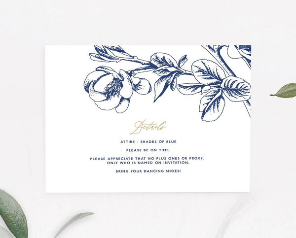 Floral Wedding Details Card Printable Template