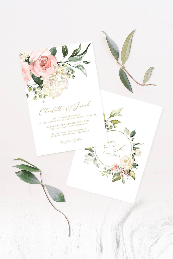Floral Hydrangea Wedding Invitation Printable Template