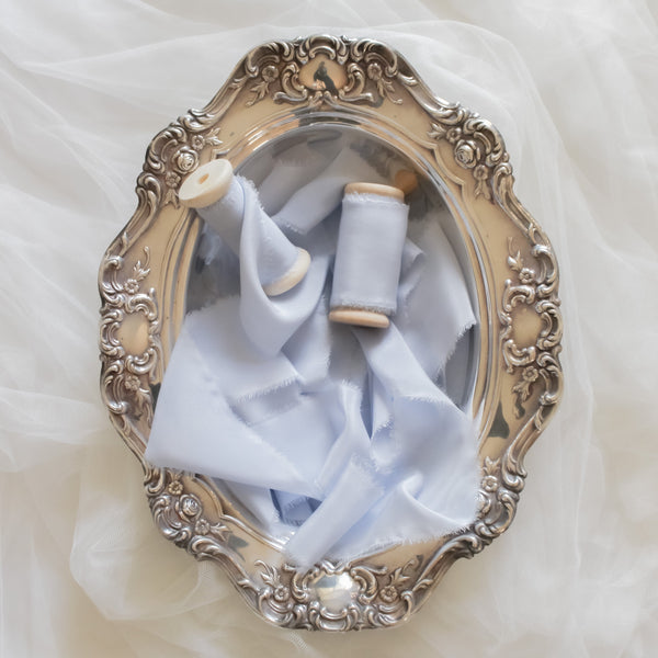 Daphne Blue Silk Crepe Ribbon