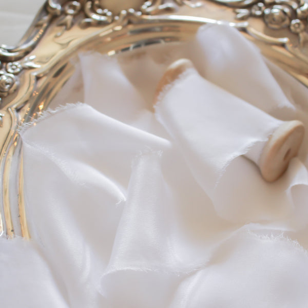 White Lily Silk Crepe Ribbon