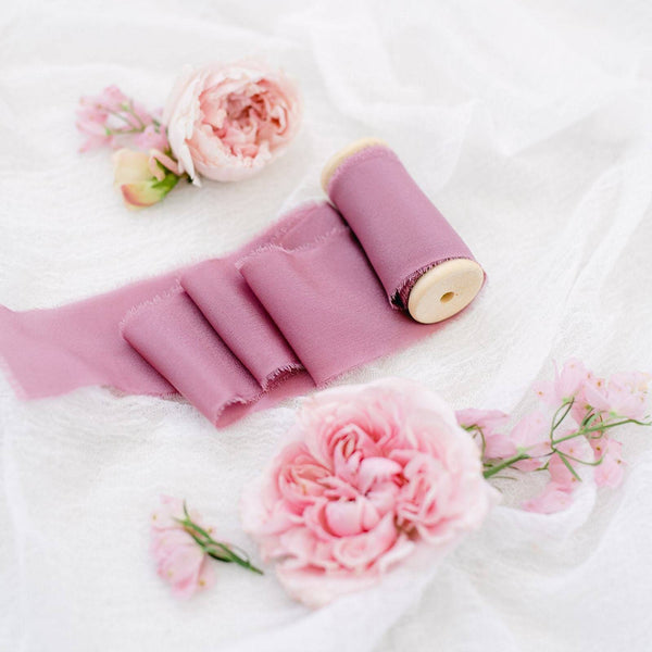 French Rose Silk Crepe Ribbon