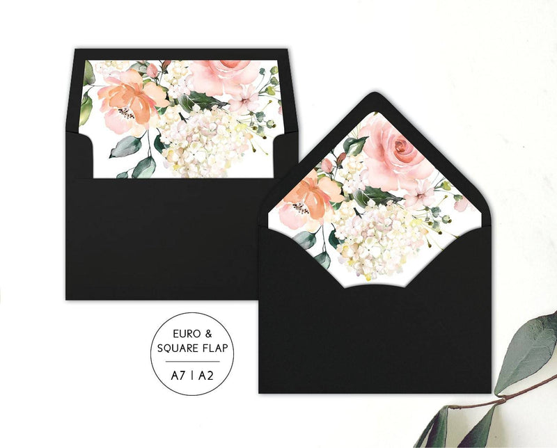 Hydrangea Wedding Envelope Liners Printable Template