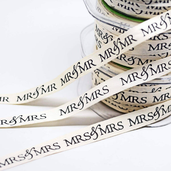 Mr and Mr Printed Cotton Ribbons