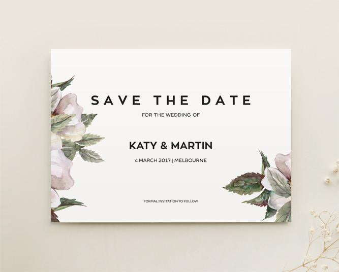Magnolia Floral Wedding Save The Date Printable Template
