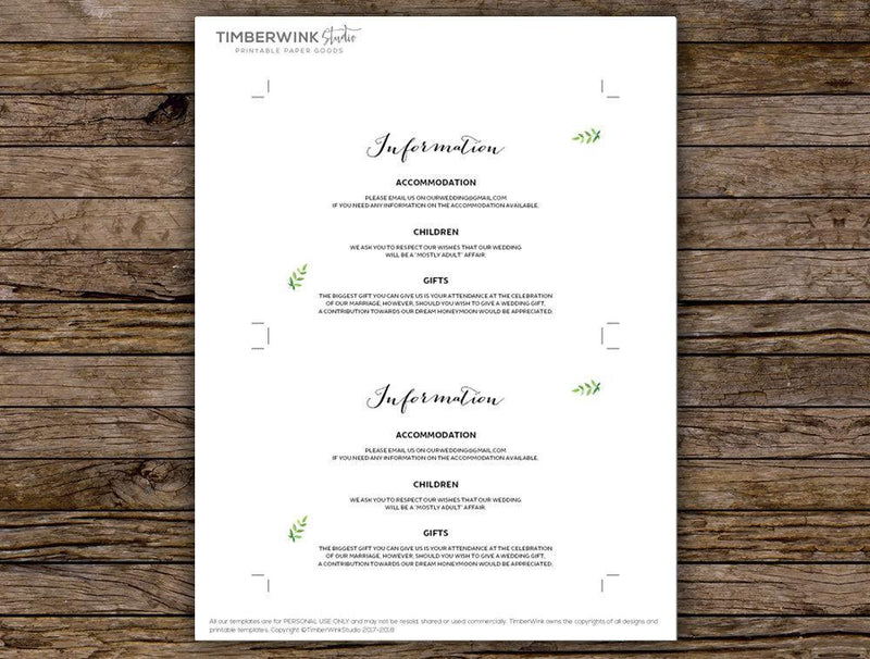 Minimal Greenery Details Card Printable Template