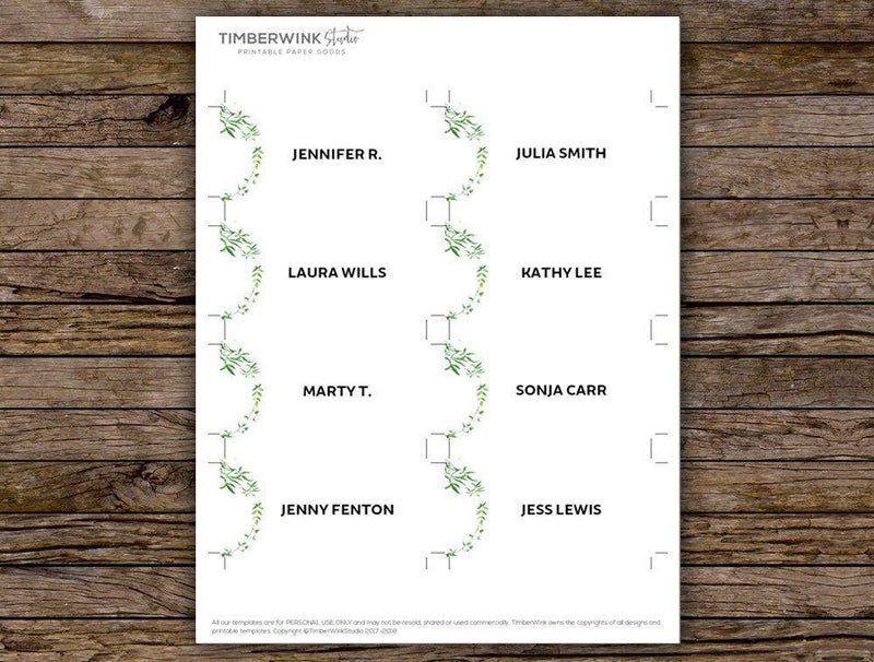 Minimal Greenery Wedding Place Card Printable Template