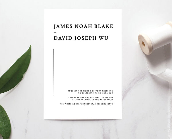 Modern and Minimalist Black and White Wedding Invitation Printable Template