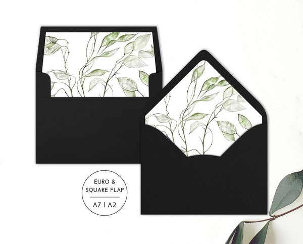 Watercolour Greenery Wedding Envelope Liners Printable Template
