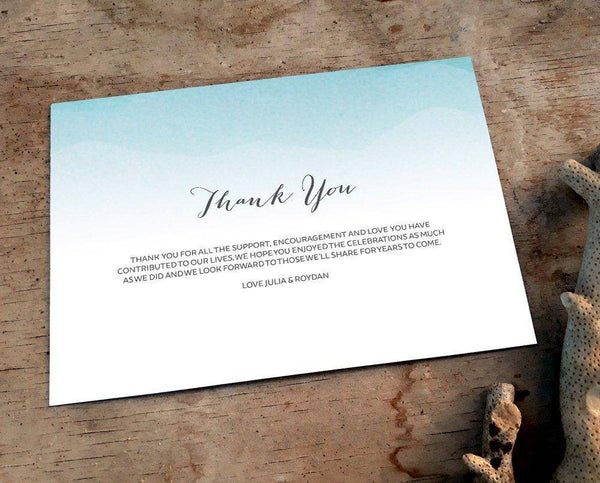 Beach Wedding Thank You Card Printable Template