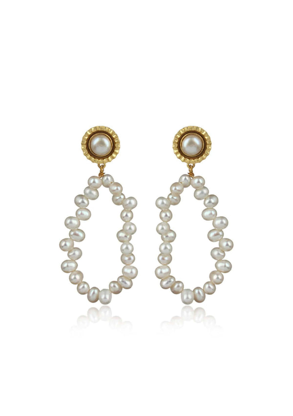 ELLE - PEARL BRIDAL EARRINGS - GOLD