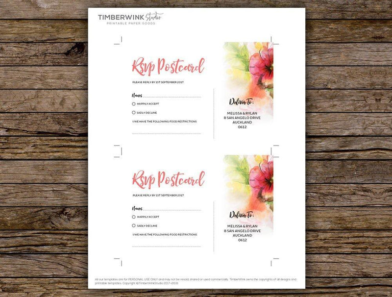 Floral Watercolour Wedding RSVP Card Printable Template
